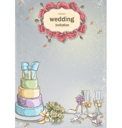 Wedding invitation with a picture of wedding items vector