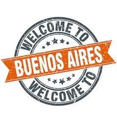 Welcome to Buenos Aires orange round ribbon stamp vector