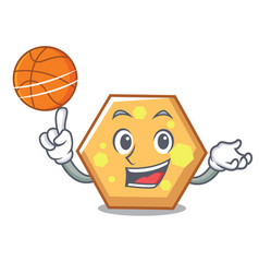 with basketball hexagon character cartoon style vector image