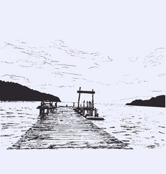 wonderful seaveiw pier sketch vector image