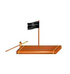 Wooden raft with pirate flag vector