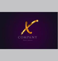 X gold golden alphabet letter logo icon design vector