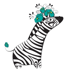 Zebra with flowers vector image