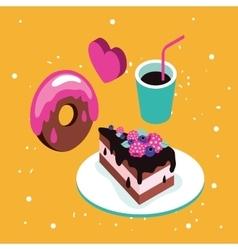 Sweet menu Delicious dessert cake chocolate donut vector image vector image