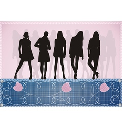 beautiful girls silhouette on blue jeans and pink vector image