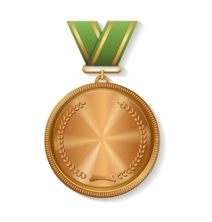 Blank champion bronze medal with ribbon vector image vector image