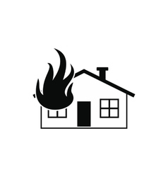 House on fire black simple icon vector image