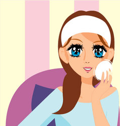 manga girl putting on makeup vector image vector image