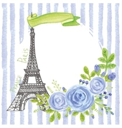 Paris vintage cardEiffel towerWatercolor blue vector image vector image