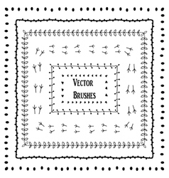 set of hand drawn brushes Seamless pattern vector image