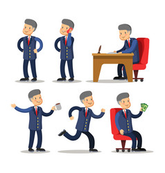 successful businessman cartoon set man with money vector image vector image