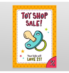 Toy shop sale flyer design with pacifier vector image vector image
