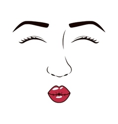 woman face with eyesclosed and giving a kiss vector image