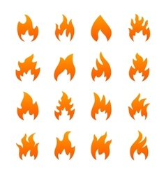 Orange fire icons vector image vector image