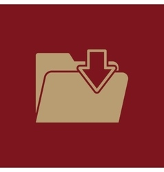 The folder icon file download symbol flat vector