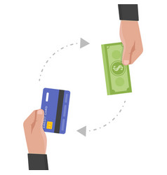 businessman hand holds credit card and money vector image