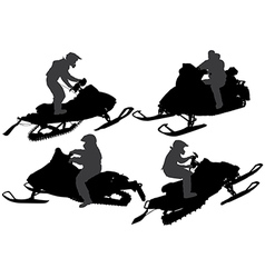 Snowmobiling Silhouette vector image vector image