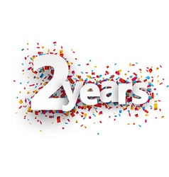 Two years paper confetti sign vector image