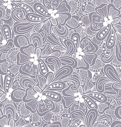 Abstract seamless pattern with gray flowers vector