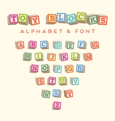 Alphabet blocks bablocks font vector