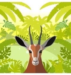 Antelope on the Jungle Background vector image