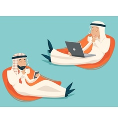 Arab Businessman Chat Laptop Mobile Phone Drink vector