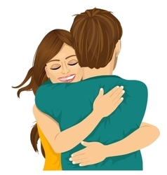 Attractive young hispanic woman hugging her man vector