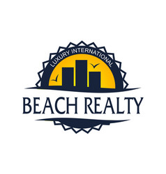 beach realty logo design template vector image