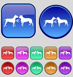 Betting on dog fighting icon sign A set of twelve vector
