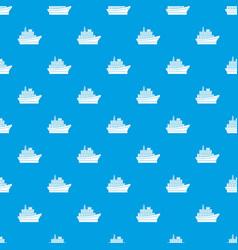 big ship pattern seamless blue vector image