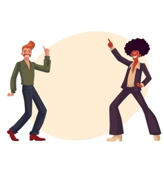 Black and white men in 1970s style clothes dancing vector