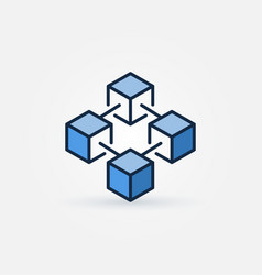 Blue blockchain technology icon vector