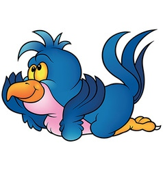 Blue parrot laying vector