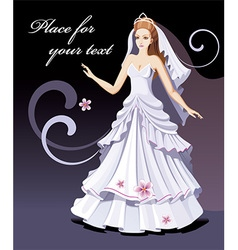 Bride cartoon with text space vector