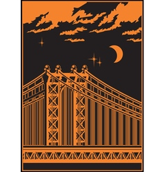 Bridge at night vector