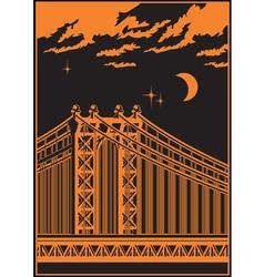 bridge at night vector image