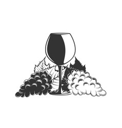 bunches grapes and a glass wine vector image