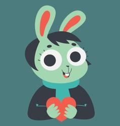 Bunny Girl Holding a Heart vector image