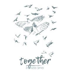 business concept hold hands spirit together vector image