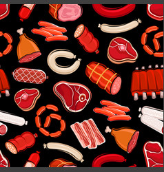 butchery food seamless pattern meat and sausages vector image