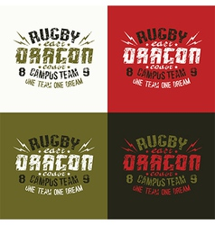 Campus rugby team emblem vector image