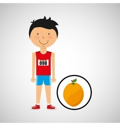 cartoon boy athlete with orange vector image