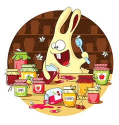 Cartoon bunny eats jam vector