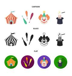 Circus tent juggler maces clown magician hat vector