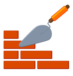 colorful cartoon trowel on brick wall vector image