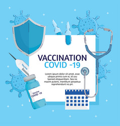 covid19 vaccination lettering with set items vector image