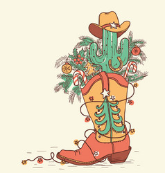 cowboy boot with christmas elements isolated on vector image
