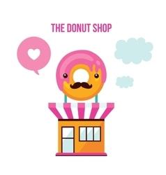 Cute donut shop facade Food Delicious dessert vector image