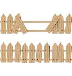 Drawn wooden fence vector