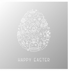 easter egg with hand drawn elements vector image